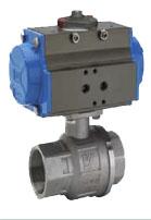 8P0003 - 8P0004 Серия INOX-VAL. Шаровой кран с пневмоприводом из нержавеющей стали. Муфтовый.