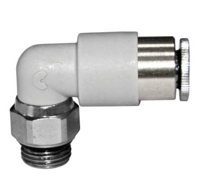 Pneumatic elbow threaded-to-tube adapter, r 1/4 male, push in 10 mm